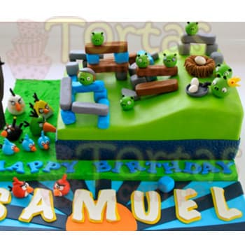 Torta Angry birds | Torta del tema Angry Birds - Cod:ABR02
