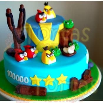 Torta angry bird | Torta con tematica Angry Birds - Cod:ABR03
