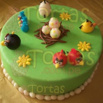 Torta Angry Birds redonda - Whatsapp: 980-660044