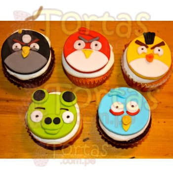 Cupcakes del tema Angry Birs | Pasteles de Angry Birds - Cod:ABR10
