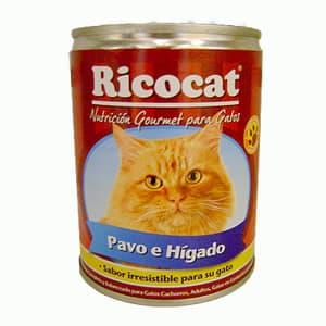 Ricocat lata (gatos cachorros,y adultos)330gr.higado,pavo - Cod:ABS03