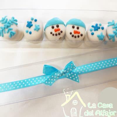 Alfajores para Navidad con muñeco de nieve - Cod:AFN07