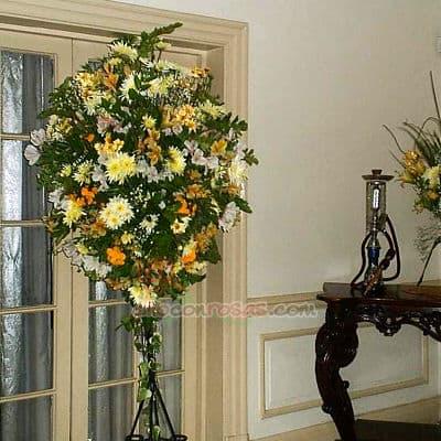 Arreglo para Inaguraciones con Flores Blancas y Amarillas - Cod:AGP04