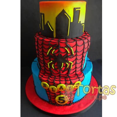 Torta SpiderMan | Torta SpiderMan de dos pisos - Cod:AVC05