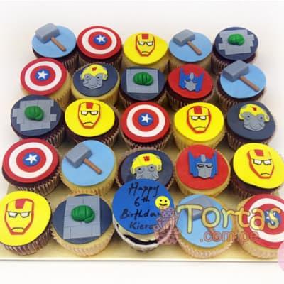 Tortas.com.pe - Cupcakes Avengers - Codigo:AVC11 - Detalles: Deliciosos Cupcakes de vainilla, con decoracion en azucar segun imagen. 25 unidades variadas segun imagen. - - Para mayores informes llamenos al Telf: 225-5120 o 476-0753.