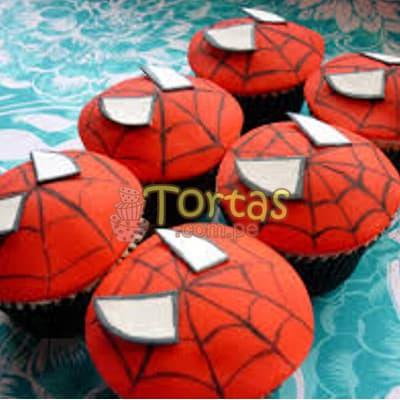 Tortas.com.pe - Cupcakes Hombre Ara�a - Codigo:AVC13 - Detalles: Deliciosos Cupcakes de vainilla, con decoracion en azucar segun imagen. 6 unidades variadas segun imagen. - - Para mayores informes llamenos al Telf: 225-5120 o 476-0753.