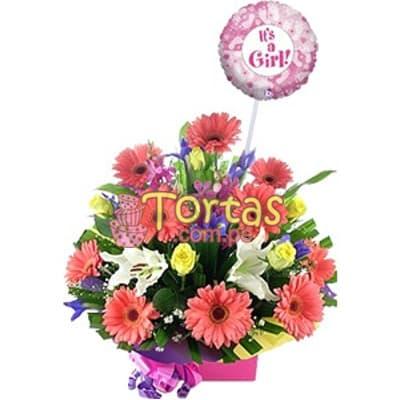 Arreglo Floral para Bebes - Mujercita - Cod:BBD05