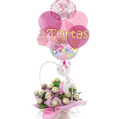 Regalo para recien Nacida | chocolates con Globos - Whatsapp: 980-660044