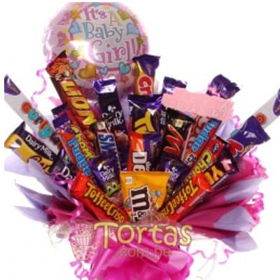 Regalo para recien Nacida - Cesta con Chocolates - Whatsapp: 980-660044