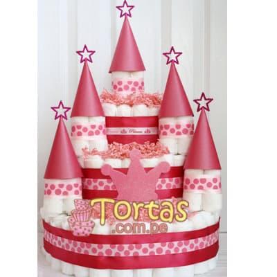 Torta de Pañales | Tortas para Baby Shower | Torta de Pañales Delivery - Cod:BBL01