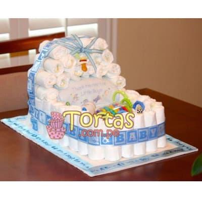 Tortas de Pañales | Torta de Pañales para Baby shower - Cod:BBL05