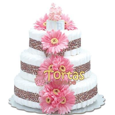Tortas de Pañales | Torta de Pañales para niña | Tortas de Baby shower Niña - Cod:BBL07