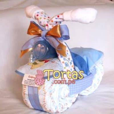 Torta para Baby Shower | Torta de Pañales con forma de Triciclo - Cod:BBL09