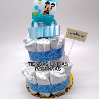 Torta para Baby Shower | Torta de Pañales con Biberon - Cod:BBL10