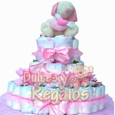 Torta de Pañales Niña | Regalos para Recien Nacidos | Torta de Pañales - Cod:BBS10