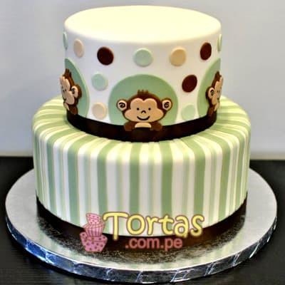 Torta Bebe con monito | Tortas de Bebe - Cod:BBT06