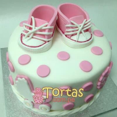 Tortas Para bebes | Torta para Bebe y zapatitos - Cod:BBT08