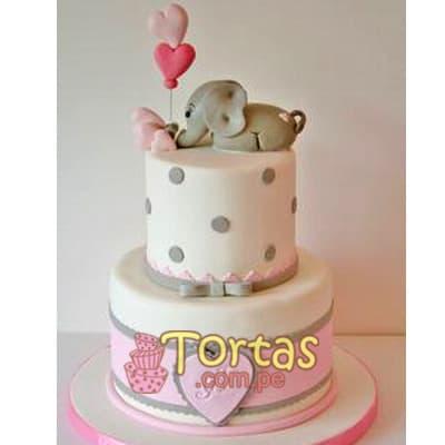 Tortas de Bebes | Torta Bebe y elefantito - Cod:BBT13