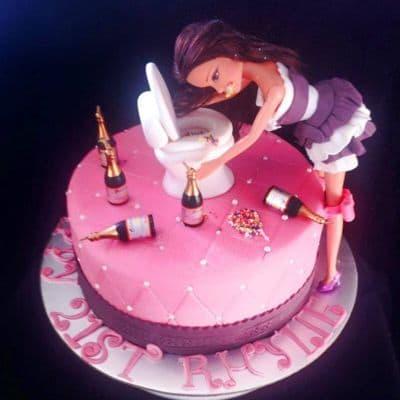 Desayunosperu.com - Torta Barbie 11 - Codigo:BRE11 - Detalles: Deliciosa torta de keke De Vainilla  , ba�ada con manjar blanco y forrada con masa elastica con medidas  de 15cm de diametro, incluye barbie referencial, ba�o modelado no comestible, botellas modeladas con masa elastica - - Para mayores informes llamenos al Telf: 225-5120 o 476-0753.
