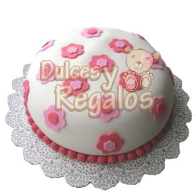 Torta Flores - Codigo:SEC10 - Detalles: Linda Torta de 15cm de diaemtro decorada con masa elastica. - - Para mayores informes llamenos al Telf: 225-5120 o 4760-753.