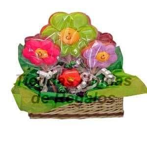 Arreglos de Flores de Chocolate | Flores de chocolates en cesta - Cod:CHF10