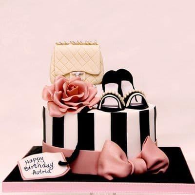 Chanel fondant cake | Torta para chicas |  Pastel de Chanel | Torta Chanel Bolso y Zapatos - Cod:CHL06