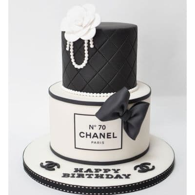 Chanel fondant cake | Torta para chicas |  Pastel de Chanel | Torta Chanel de dos pisos - Cod:CHL15