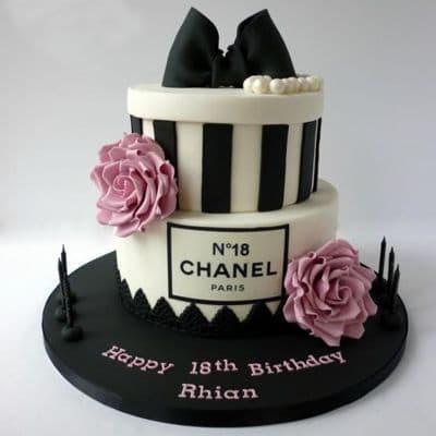 Chanel fondant cake | Torta para chicas |  Pastel de Chanel | Pastel con tema chanel - Cod:CHL19