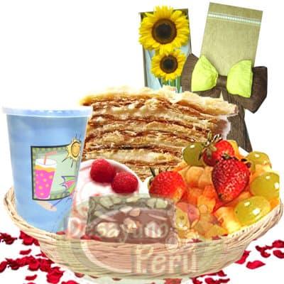 Diloconrosas.com - Mil Hojas con caja de Girasoles - Codigo:CJP24 - Detalles: Cesta de mimbre conteniendo, deliciosa ensalada de fruta, jugo de frutas, porci�n de chocolate, porci�n de yogurt, caja de 2 girasoles. Incluye de cortes�a postre de mil hojas. Incluye tarjeta de dedicatoria.  - - Para mayores informes llamenos al Telf: 225-5120 o 476-0753.