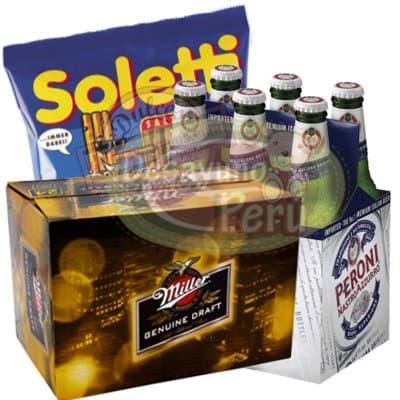 Diloconrosas.com - Pack de Peroni-Miller - Codigo:CJP30 - Detalles: 6 cervezas Miller y 6 cervezas Peroni, incluye pack de palitos Soletti. El pedido incluye tarjetas de dedicatoria. - - Para mayores informes llamenos al Telf: 225-5120 o 476-0753.