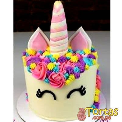 Tortas de unicornio en crema | Torta Unicornio con Glase - Cod:COR07