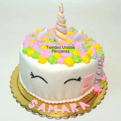 Torta de Unicornio con Crema | Torta Unicornio en glase - Cod:COR11
