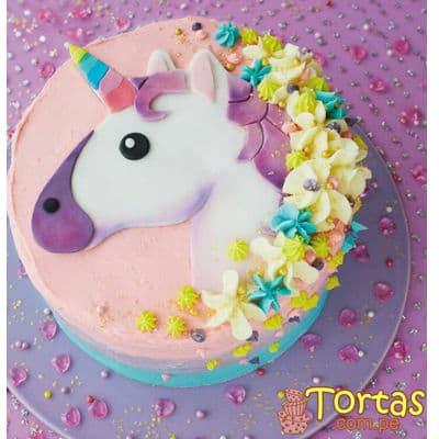 Torta de Unicornio con Crema | Torta Unicornioc con Flores - Cod:COR12