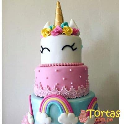 Torta de Unicornio con Crema | Torta Unicornio de tres pisos - Cod:COR13