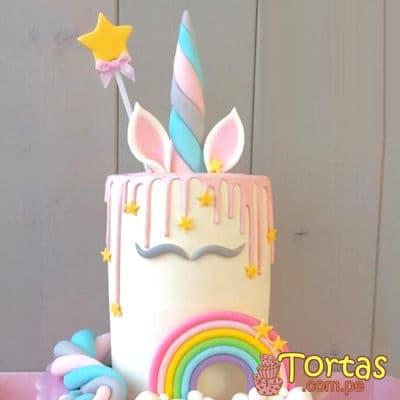 Torta de Unicornio con Crema | Torta Unicornio con efecto Drip - Cod:COR14