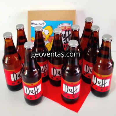 Deliregalos.com - Pack 9 Duff - Codigo:DBA03 - Detalles: Cervezas Artesanales lager, claras y brillantes, tipo Pilsener. Tiene un contenido alcoh�lico de 5% y un contenido menor al 3.5% de carbohidratos. Botellas Personales de 330ml. Dise�o especial Duff, segun imagen.  Las cervezas vienen frias para su transporte. El presente incluye una caja de regalo sellada y tarjeta de dedicatoria. - - Para mayores informes llamenos al Telf: 225-5120 o 476-0753.