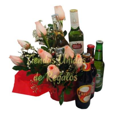 Delivery de Licores | Delivery cerveza | Arreglos de Flores con Cerveza - Cod:DBA08