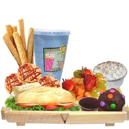 Grameco.com - Desayuno bandeja de madera - Codigo:DDP23 - Detalles: Bandeja conteniendo: jugo de frutas, sobre con caf�, , moffin ba�ado de chocoalte decorado,s�ndwich mixto en plan especial, postre de tres leches, ensalada de frutas, 4 galletas de chispa de chocolate  y palitos de queso, muffin de cortesia. Incluye juego de cubiertos y tarjeta de dedicatoria, porcion de yogurt y cereal.  - - Para mayores informes llamenos al Telf: 225-5120 o 476-0753.
