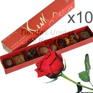 Regalos corporativos personalizados para colaboradores | Chocolates y rosas para regalo x 10 - Cod:DME04