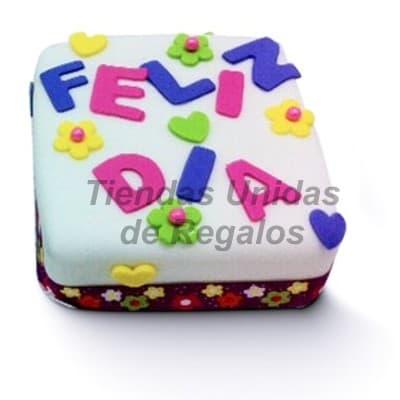 I-quiero.com - Torta Feliz dia - Codigo:DMA01 - Detalles: Keke De Vainilla de 10x10cm ba�ado con manjar blanco y forrado con masa elastica. incluye dise�o Feliz dia. - - Para mayores informes llamenos al Telf: 225-5120 o 476-0753.