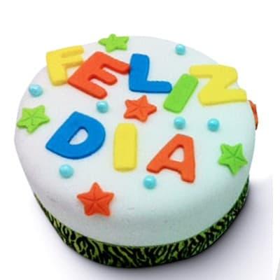 Torta Feliz dia - Codigo:DMJ36 - Detalles: Deliciosa torta de Vainilla con medidas de 10x10cm ba�ada con manjar y forrada con masa elastica. Dise�o segun imagen. Cada torta viene en su envase de acrilico.  - - Para mayores informes llamenos al Telf: 225-5120 o 980-660044.