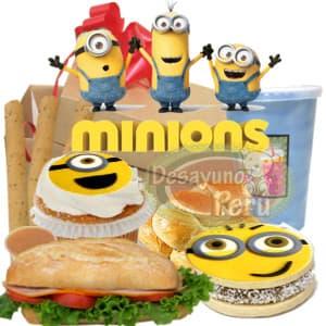 Tortas.com.pe - Desayuno Minions - Codigo:DNN01 - Detalles: Caja de regalo 100 % biodegradable conteniendo: jugo de frutas, cupcake de vainilla con dise�o minions, alfajor especial gigante de 5cm con foto-impresion totalmente comestible de minions, palitos de queso, sandwich de lomito ahumado. - - Para mayores informes llamenos al Telf: 225-5120 o 476-0753.