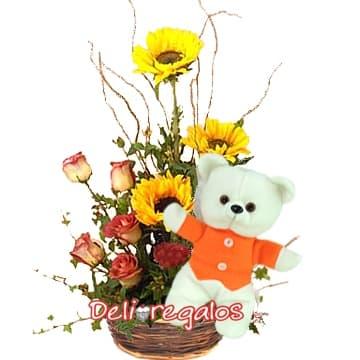 Arreglos de rosas con Girasoles | Girasoles con Rosas y Peluche | Arreglos de Girasoles - Cod:AGG07