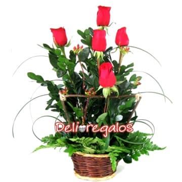 Arreglos Florales de Rosas | Cesta con Rosas Importadas - Cod:ARL09