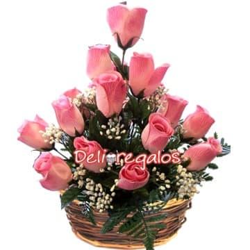 grameco.com - Arreglo de Rosas Rosadas - Codigo:ARL13 - Detalles: Arreglo Floral en base de mimbre compuesto por 14 rosas en tonos rosados, flores y follaje de estaci�n.  - - Para mayores informes llamenos al Telf: 225-5120 o 476-0753.
