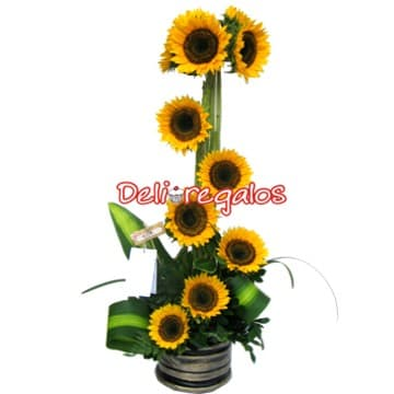 Arreglos florales con Girasoles | Arreglo con 10 Girasoles - Cod:AGG14