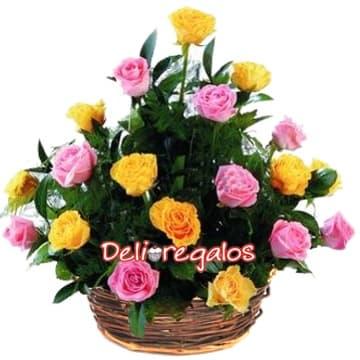 Rosas Importadas Amarillas y Rosadas - Cod:ARL28
