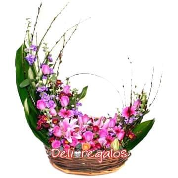 i-quiero.com - Arreglo con Flores Rosadas - Codigo:AGF29 - Detalles: Arreglo floral a base de Hojas, Flores y follaje de estacion en tonos rosados, rojos y violetas, contiene azucenas, margaritas, iris y astromelias   - - Para mayores informes llamenos al Telf: 225-5120 o 476-0753.