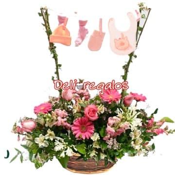 Arreglos para nacimientos de Bebes | Arreglo Floral para Recien Nacida Mujercita - Cod:AGN33