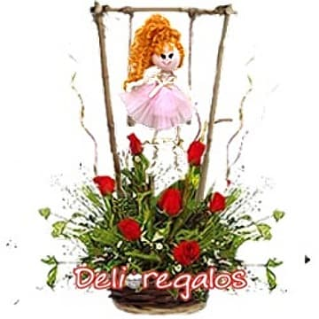 Flores para Recien Nacida con Muñeca - Cod:AGN34